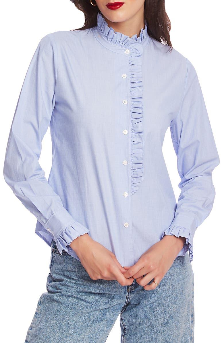 COURT & ROWE Ruffle Placket Shirt, Main, color, CHAMBRAY BLUE