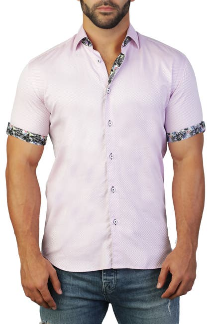 Image of Maceoo Galileo Short Sleeve Print Tailored Fit Dress Shirt