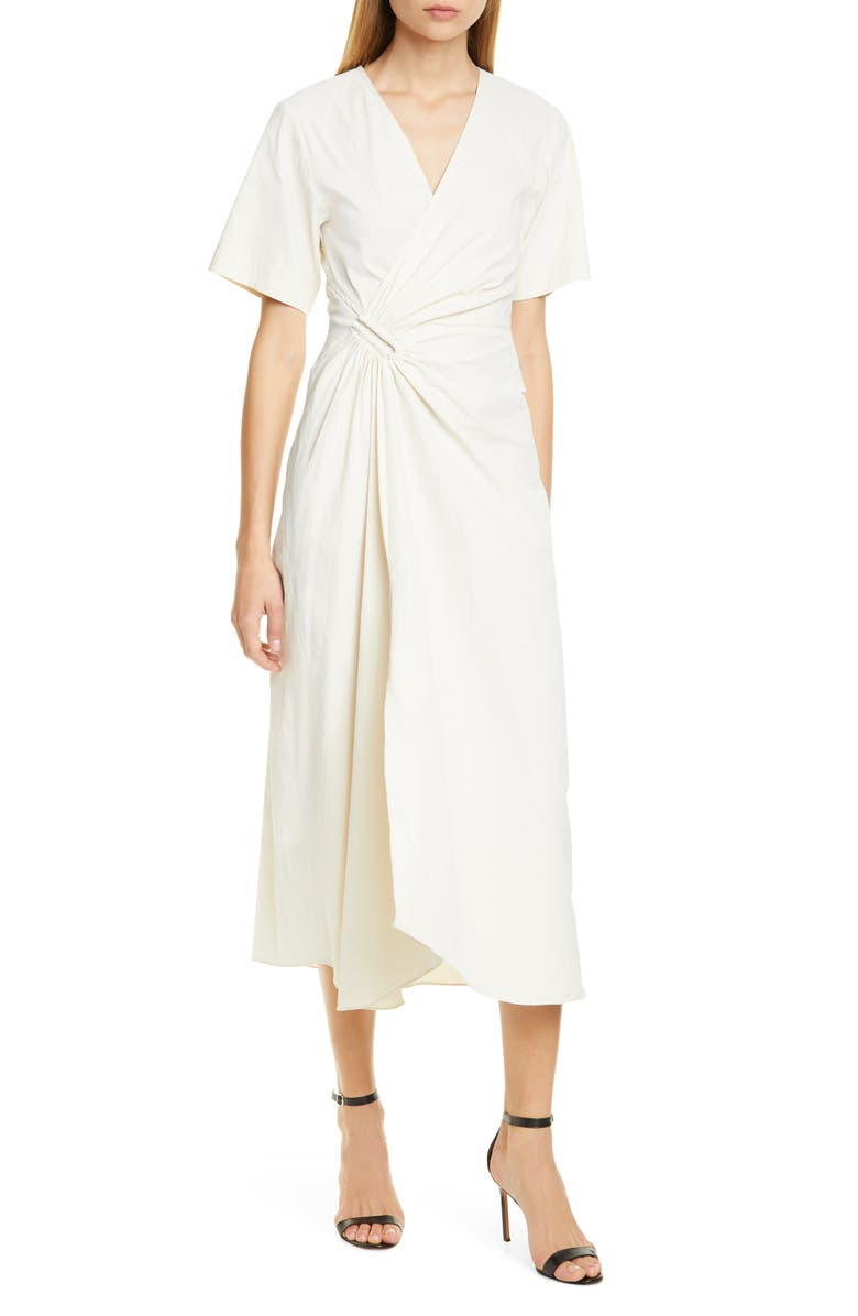 A.L.C. Edie Faux Wrap Midi Dress, Main, color, ECRU