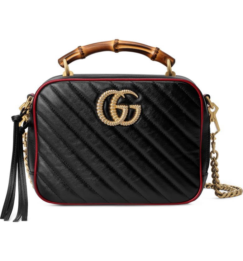 GUCCI Small Quilted Leather Shoulder Bag, Main, color, NERO/ ROMANTIC CERIS