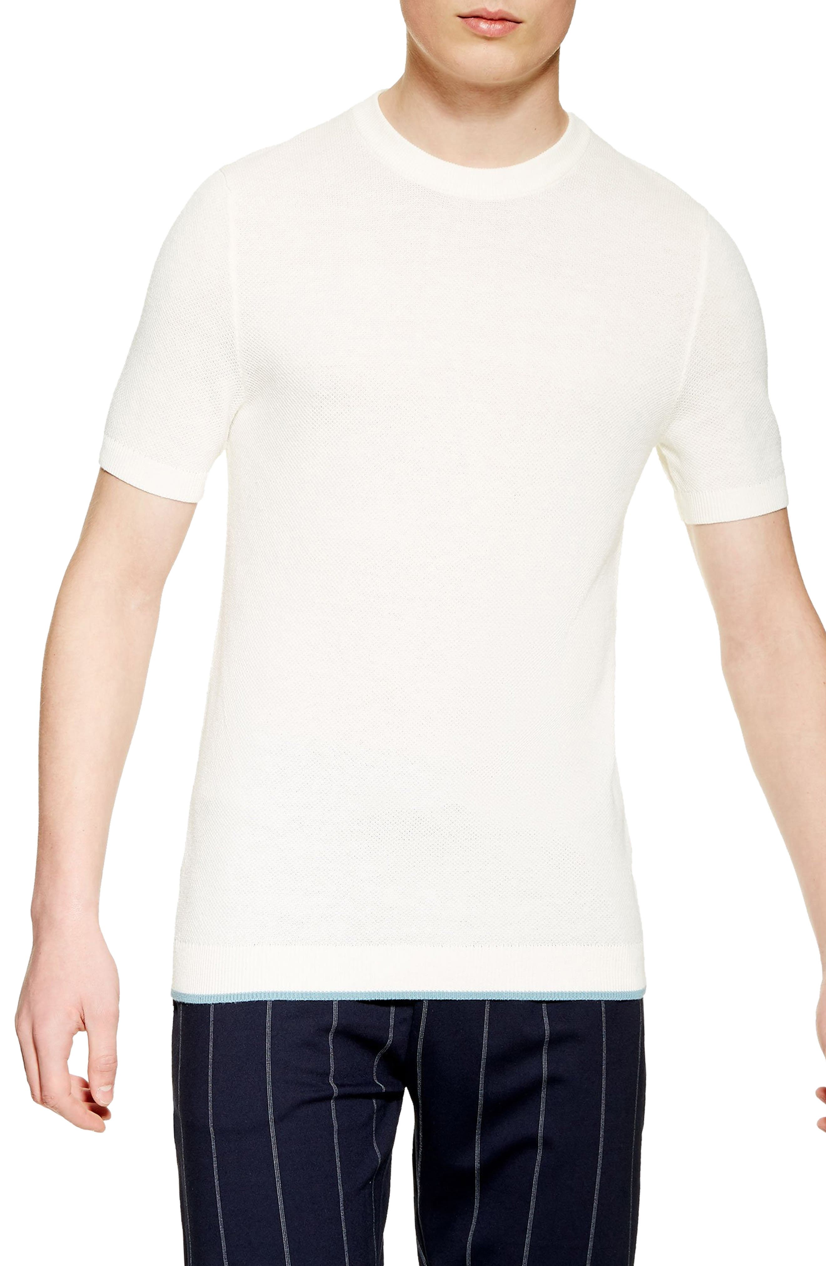 ,                             Piqué Knit Sweater T-Shirt,                             Main thumbnail 1, color,                             WHITE