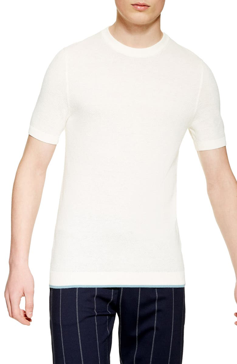 TOPMAN Piqué Knit Sweater T-Shirt, Main, color, WHITE
