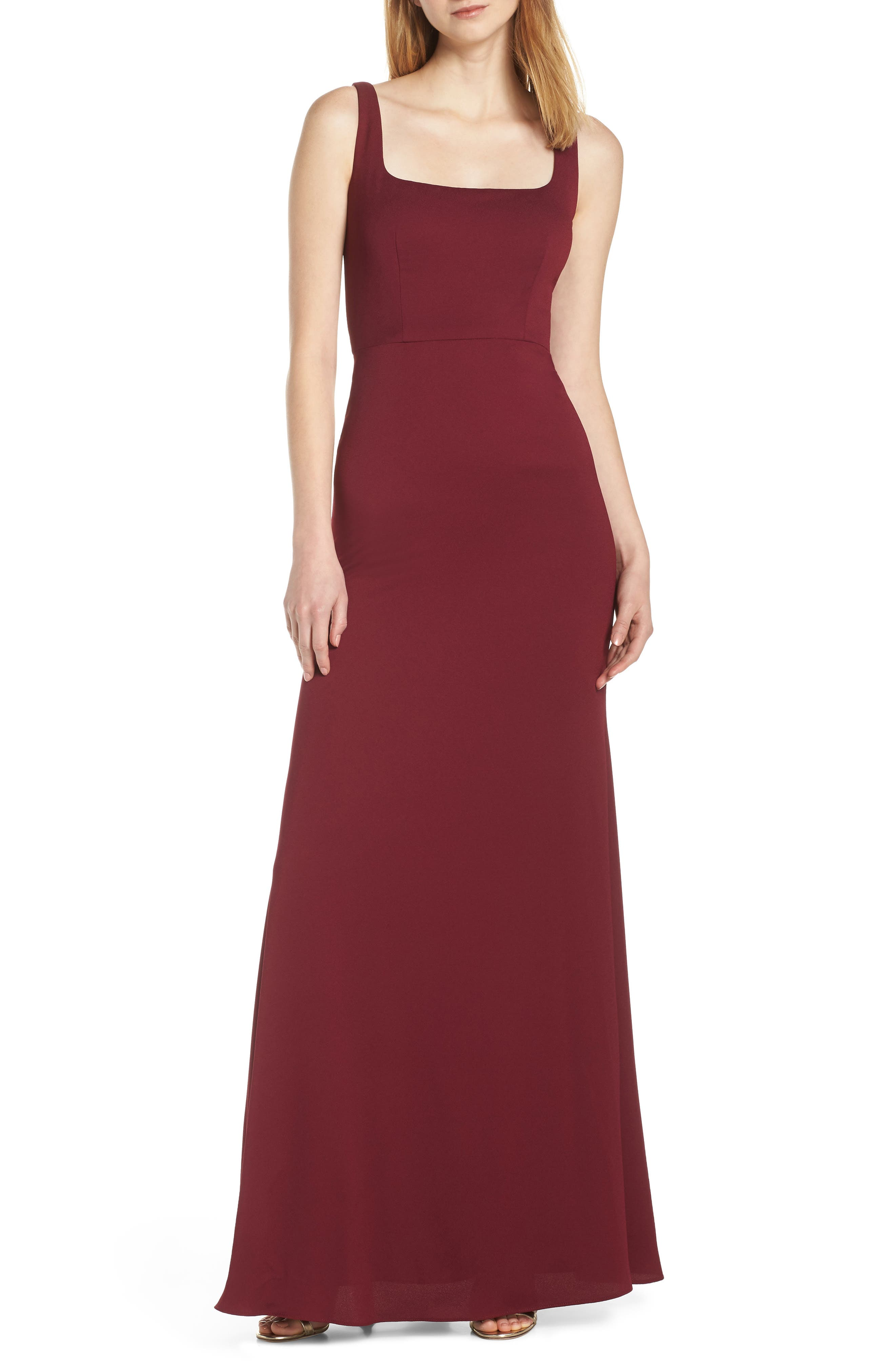 Hayley Paige Occasions Square Neck Tie Back Crepe Evening Dress, Burgundy