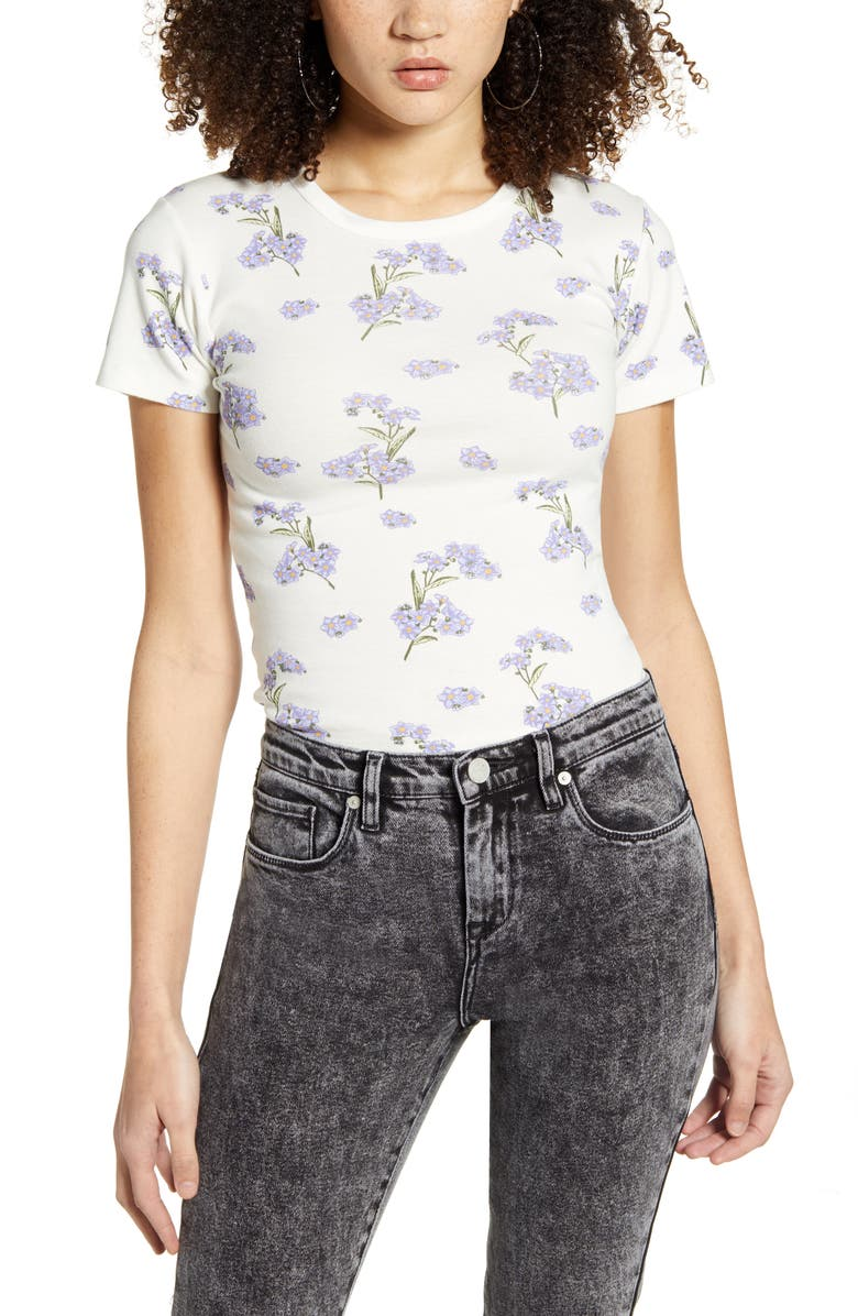 BDG URBAN OUTFITTERS Floral Tee, Main, color, WHITE