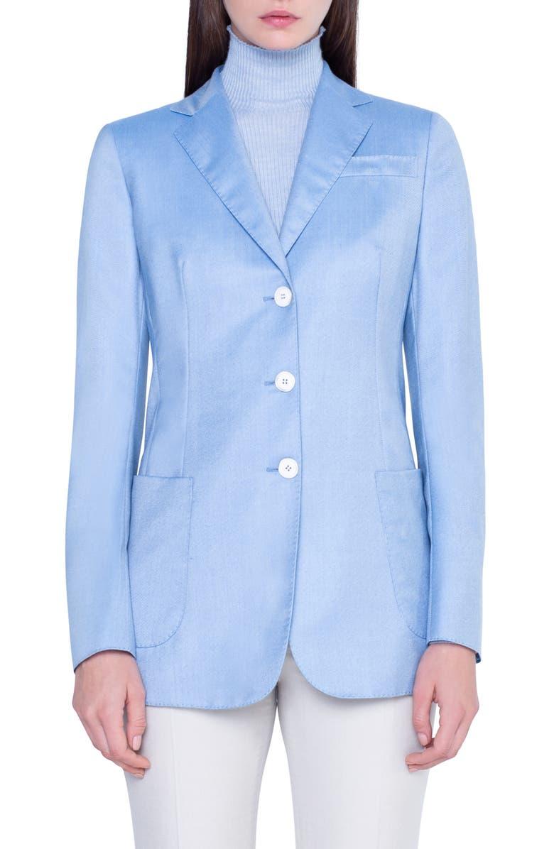 AKRIS Stretch Cashmere & Silk Twill Blazer, Main, color, ICE