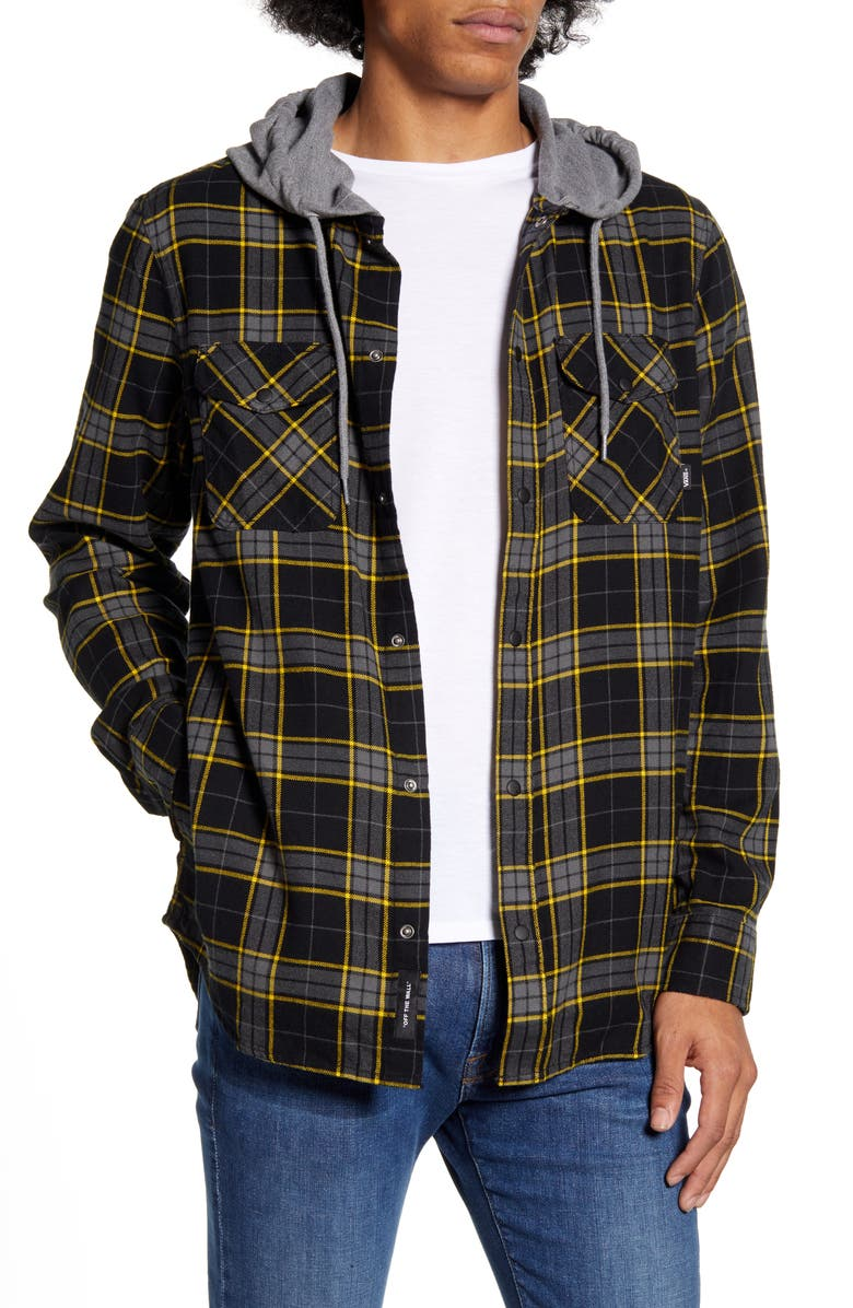 VANS Parkway Classic Fit Plaid Flannel Hooded Shirt Jacket, Main, color, 001