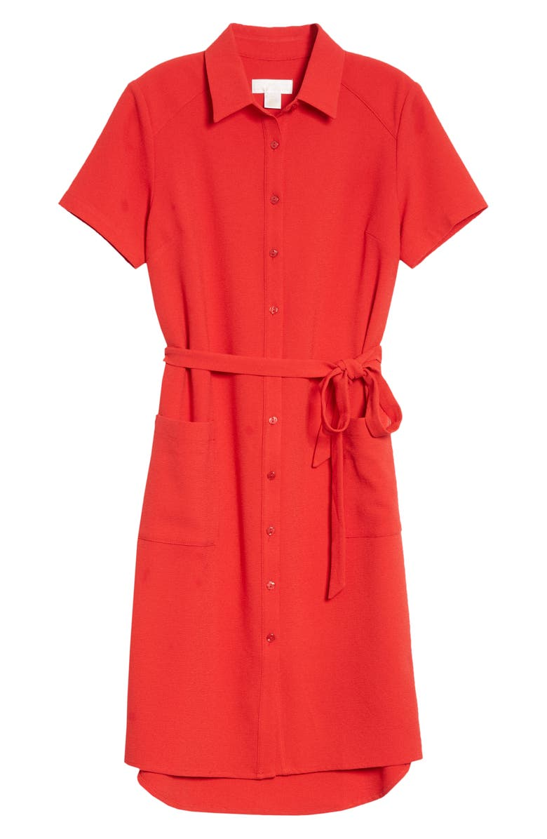 RACHEL PARCELL Everyday Shirtdress, Main, color, RED BARBADOS