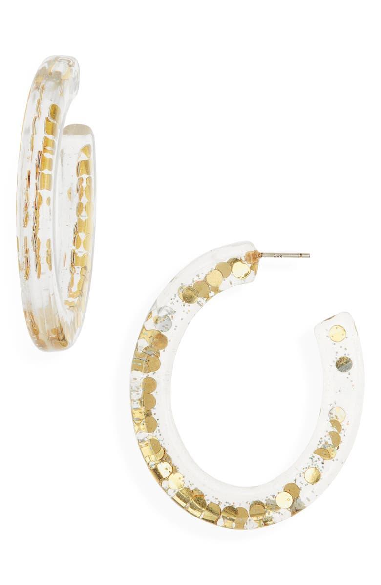 MADEWELL Paillette Resin Oval Hoop Earrings, Main, color, GOLD GLITTER