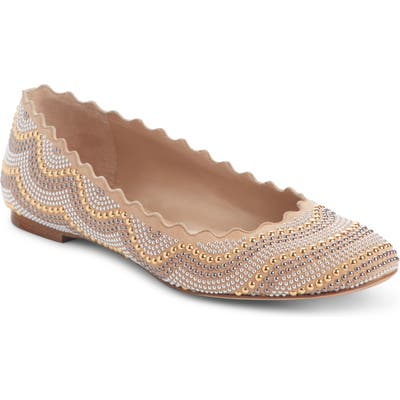 Chloe Lauren Scalloped Studded Ballet Flat, Beige
