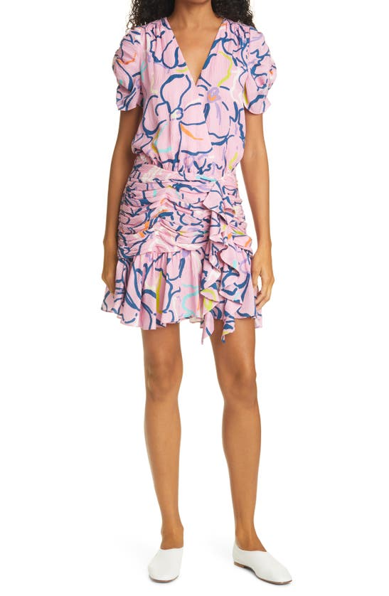 Tanya Taylor Zora Floral Ruffle Silk Dress In Squiggle Floral Purple
