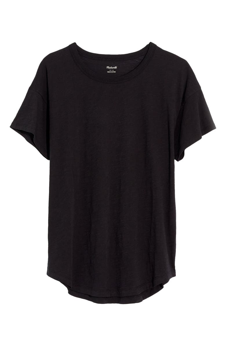 MADEWELL Whisper Cotton Ribbed Crewneck T-Shirt, Main, color, TRUE BLACK