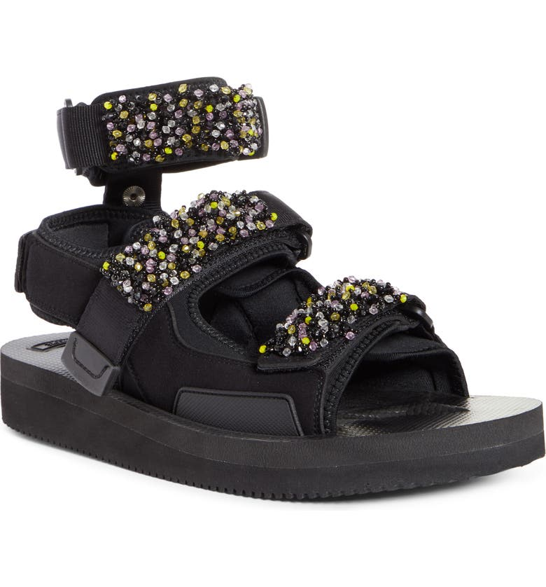 CECILIE BAHNSEN x Suicoke Aurelia Embroidered Sandal, Main, color, BLACK