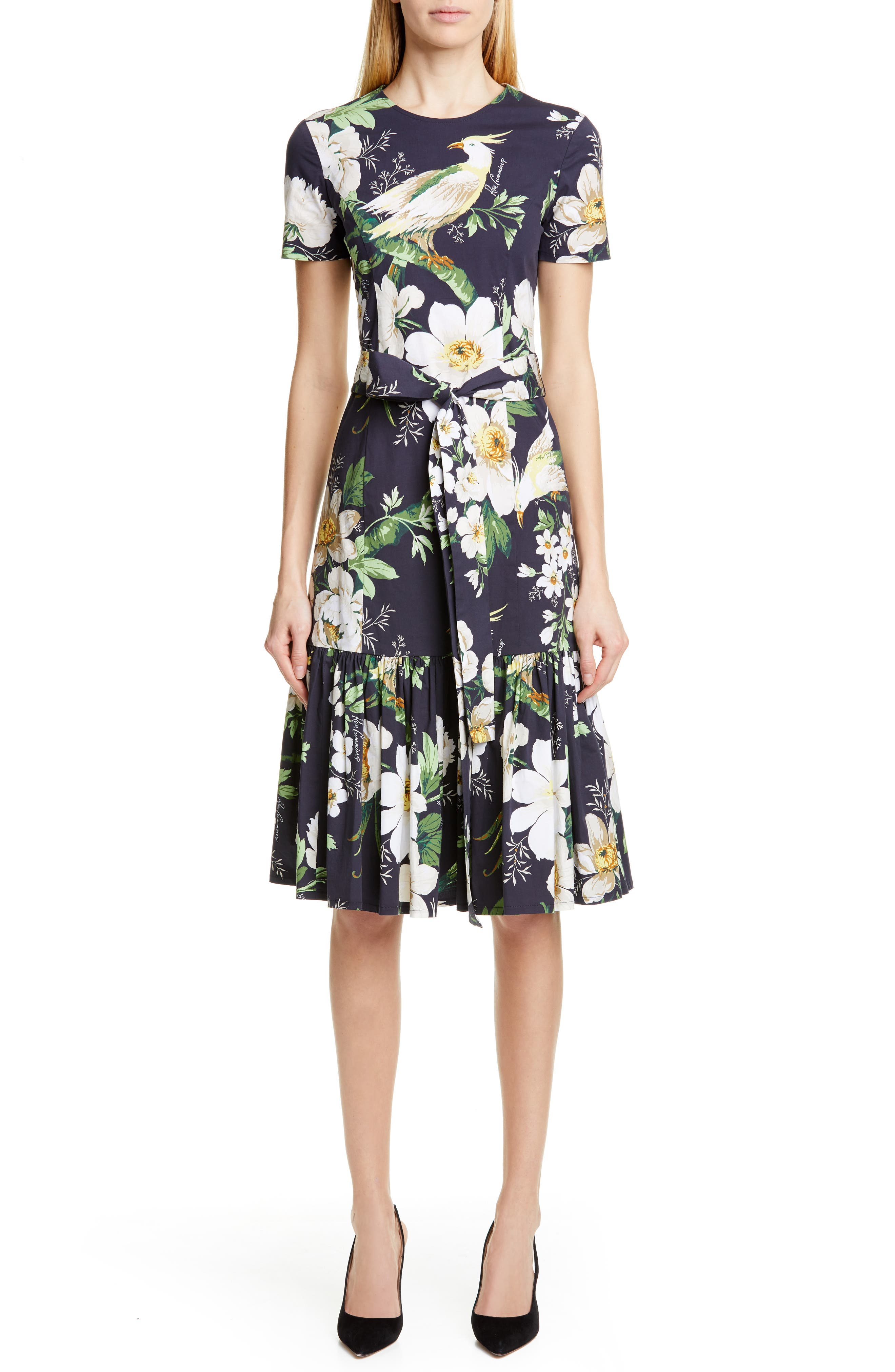 Carolina Herrera Floral Print Stretch Cotton Dress, Black