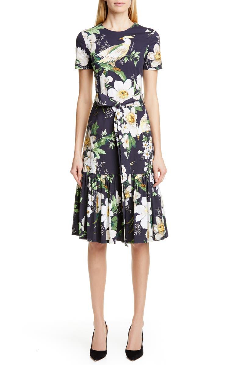 CAROLINA HERRERA Floral Print Stretch Cotton Dress, Main, color, BLACK MULTI