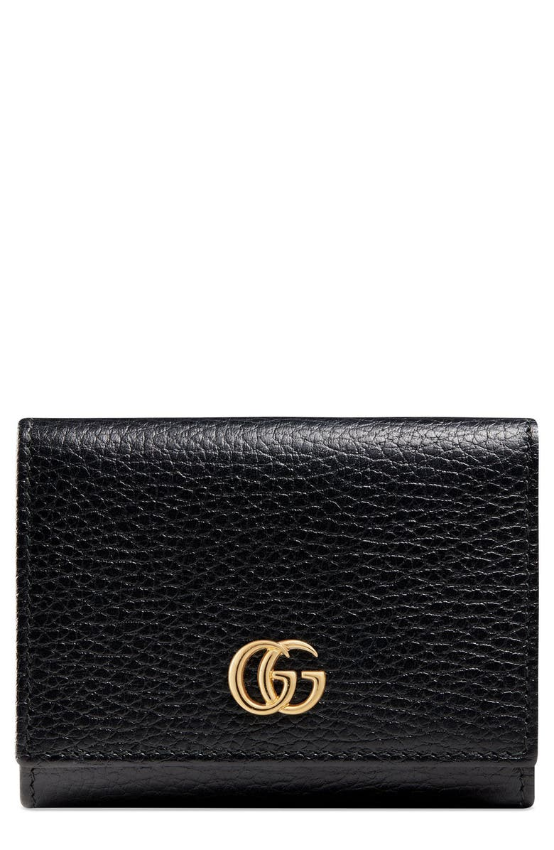 GUCCI Petite Leather French Wallet, Main, color, 001