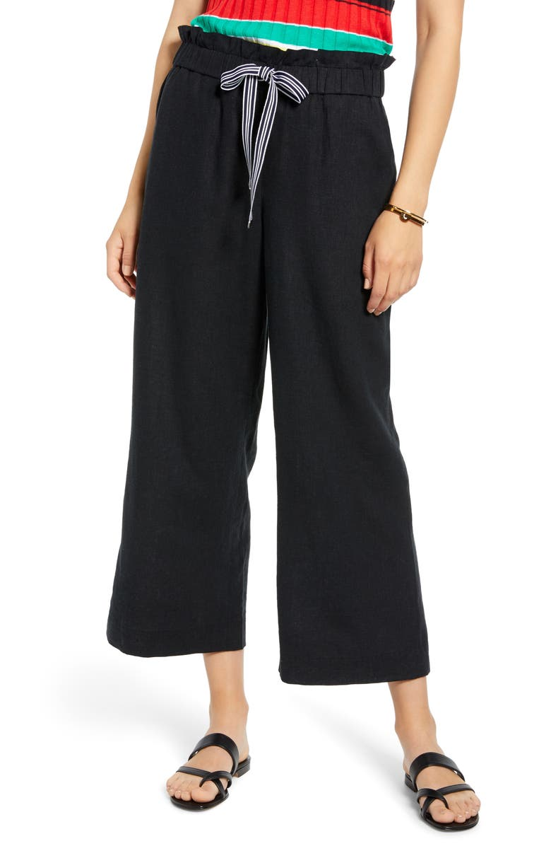 1901 Drawstring Crop Linen Blend Pants, Main, color, BLACK
