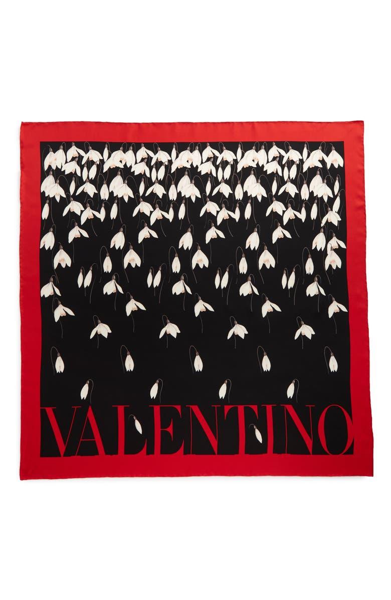 VALENTINO Bucaneve Print Silk Square Scarf, Main, color, NERO
