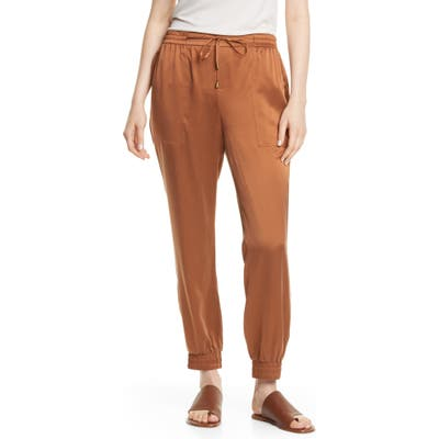 Eileen Fisher Drawstring Silk Ankle Pants, Brown