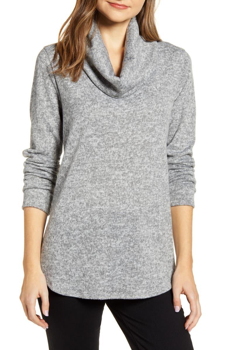 CASLON<SUP>®</SUP> Cozy Cowl Tunic Sweater, Main, color, LIGHT GREY