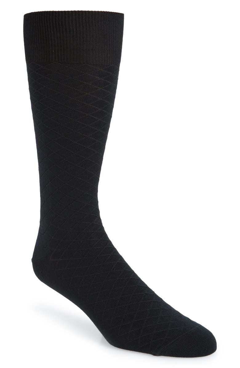 NORDSTROM SIGNATURE Diamond Pima Cotton Blend Dress Socks, Main, color, BLACK