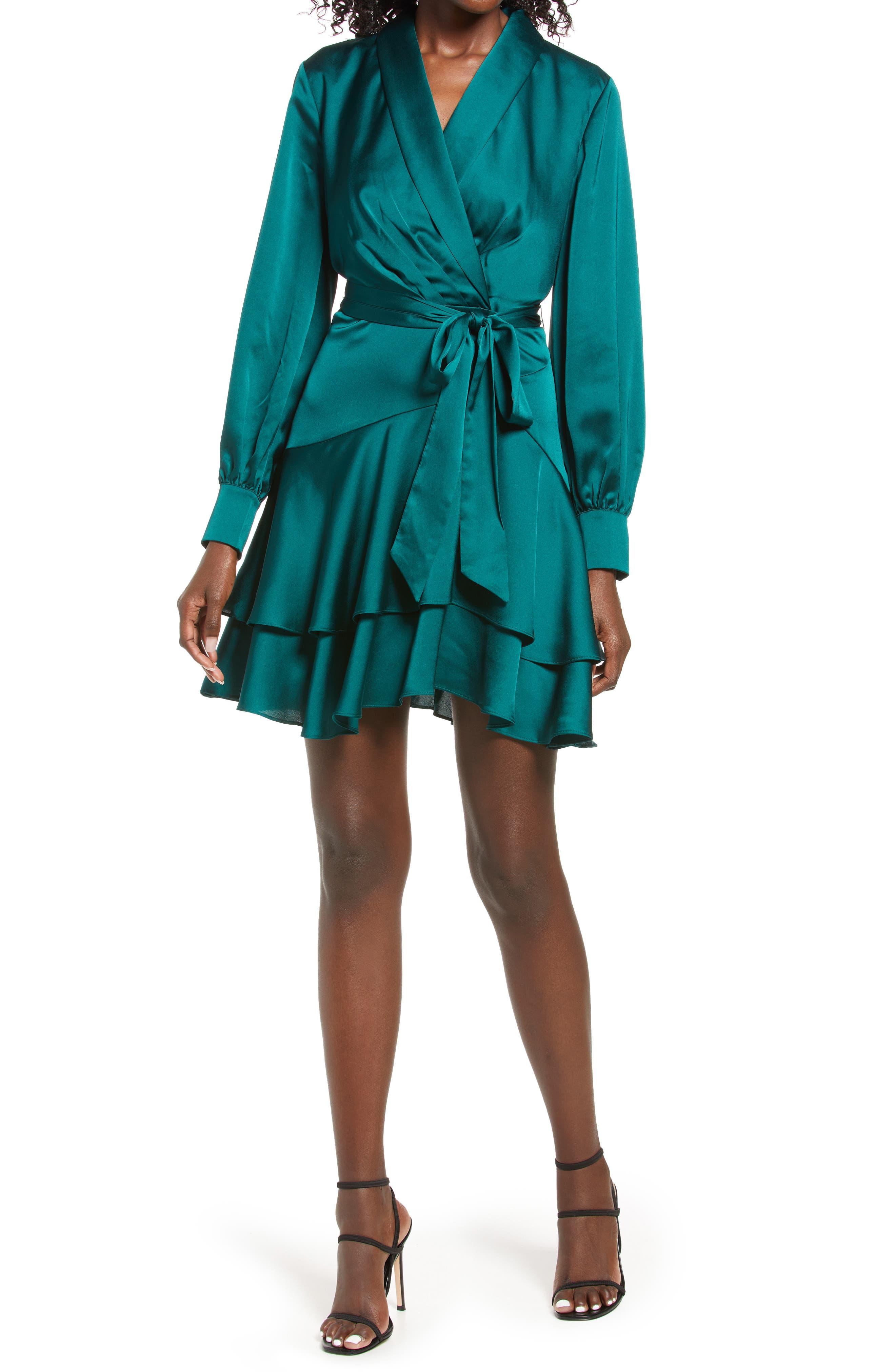 Mikayla Long Sleeve Satin Wrap Minidress