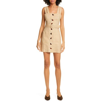Nicholas Button Front Linen Sundress, Beige