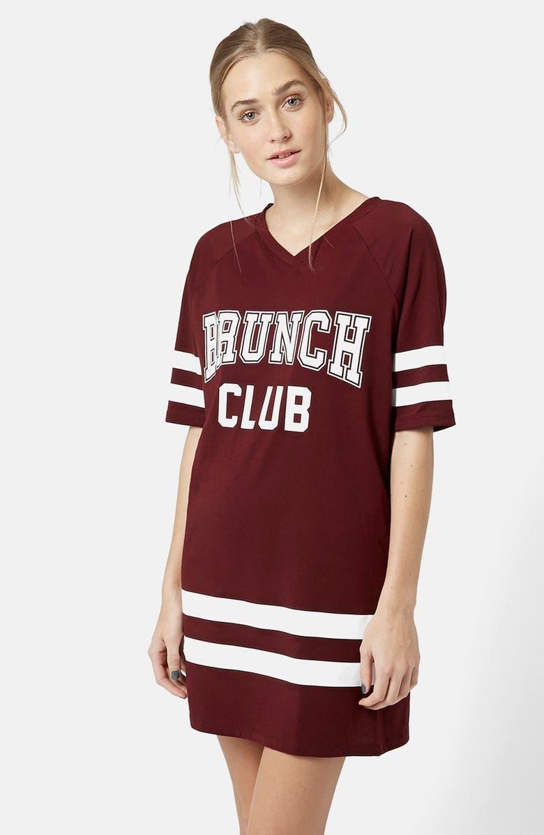 TOPSHOP Brunch Club Long Tee, Main, color, 600