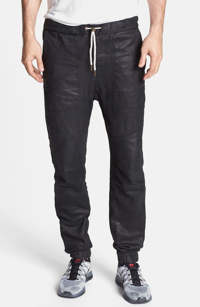 ZANEROBE 'Sureshot' Slim Tapered Leather Jogger Pants, Main, color, 001