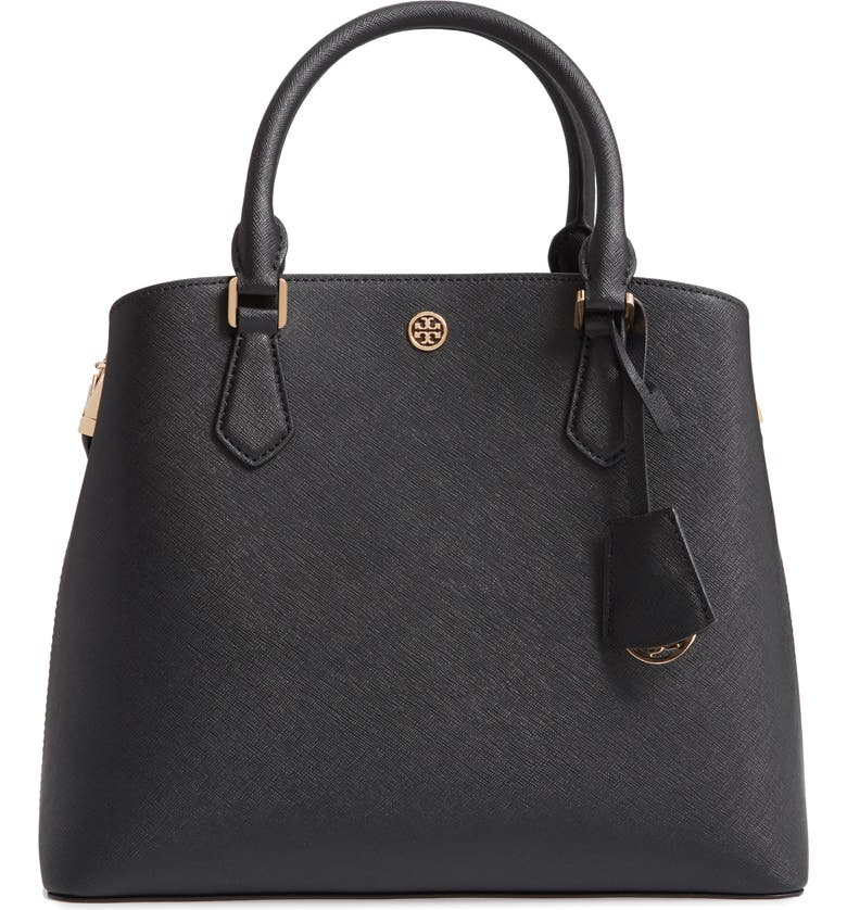 TORY BURCH Medium Robinson Leather Triple Compartment Bag, Main, color, BLACK
