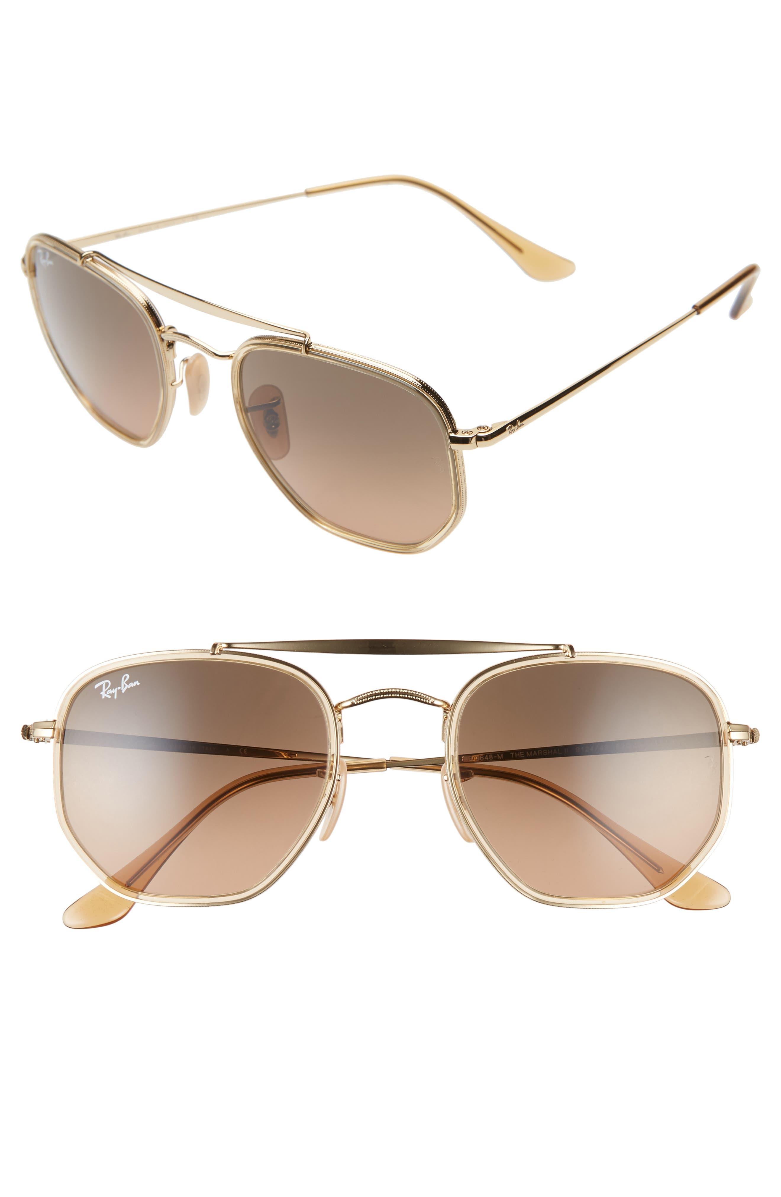 Ray-Ban 52Mm Aviator Sunglasses - Gold/ Brown Gradient