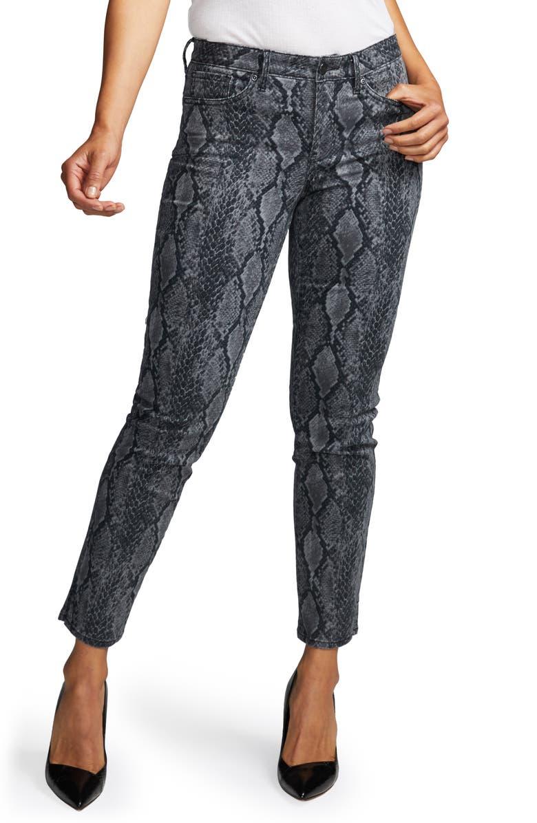 CURVES 360 BY NYDJ Snake Print Slim Straight Jeans, Main, color, DIAMONDBACK
