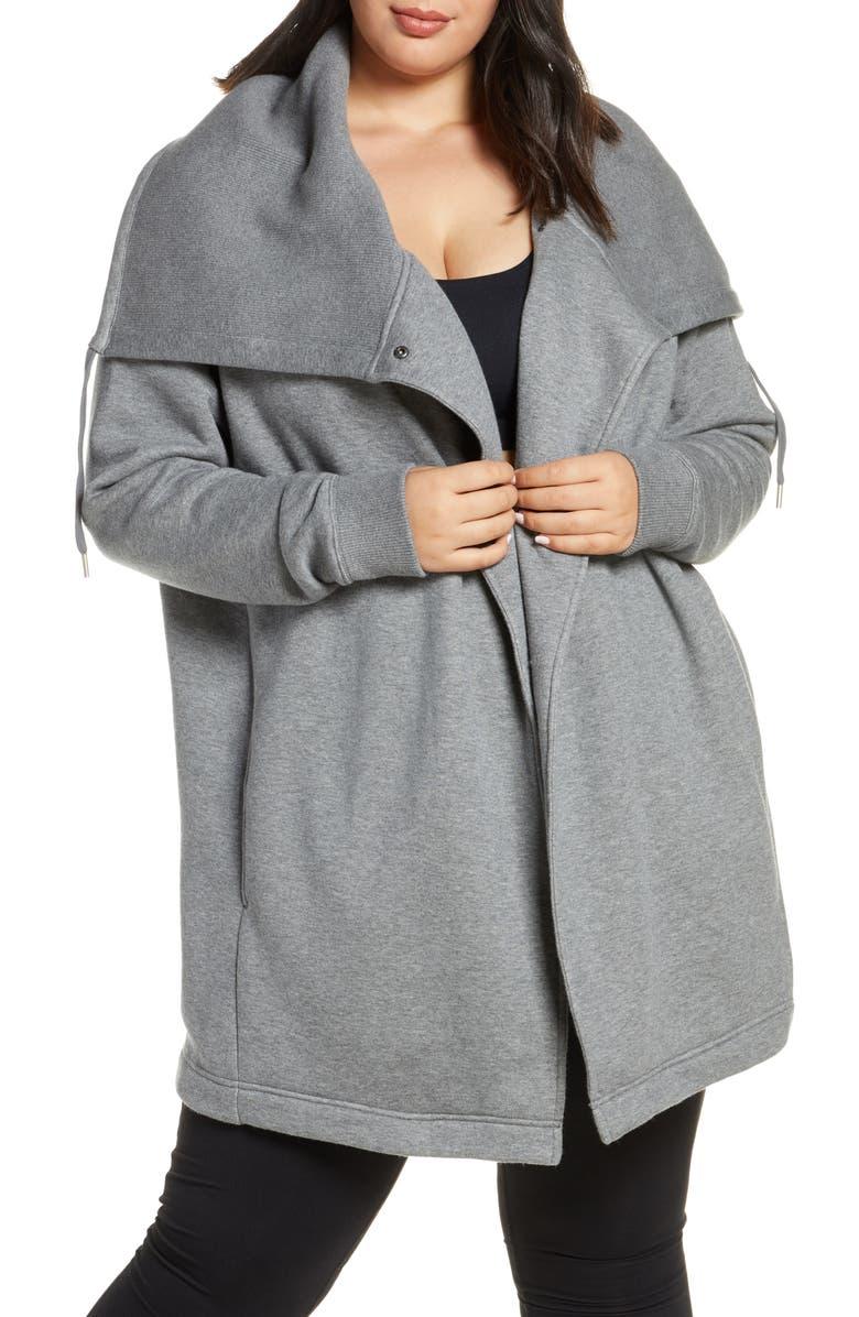 ZELLA Nola Wrap Sweatshirt, Main, color, GREY DARK HEATHER