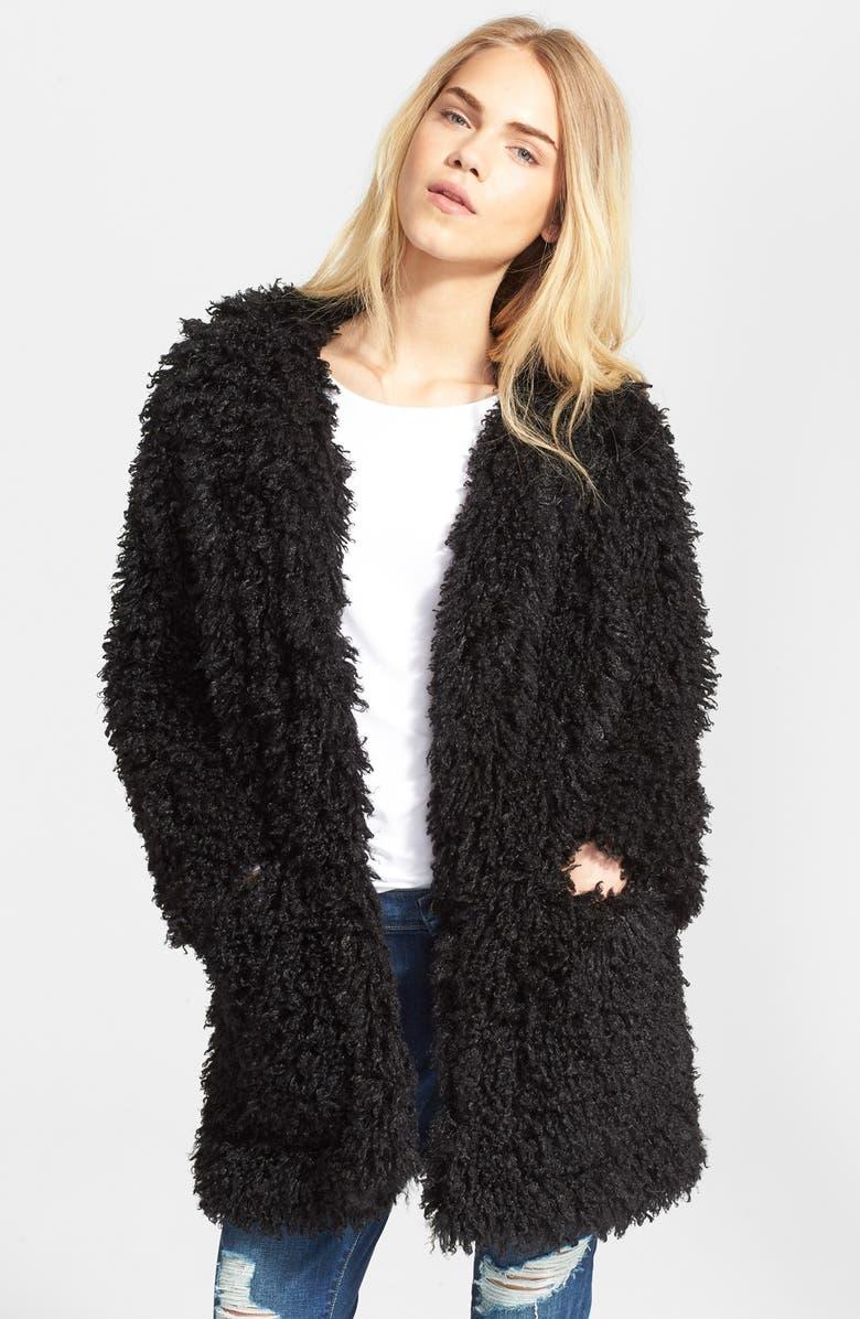 SMYTHE 'Mongolian' Faux Fur Coat, Main, color, 001