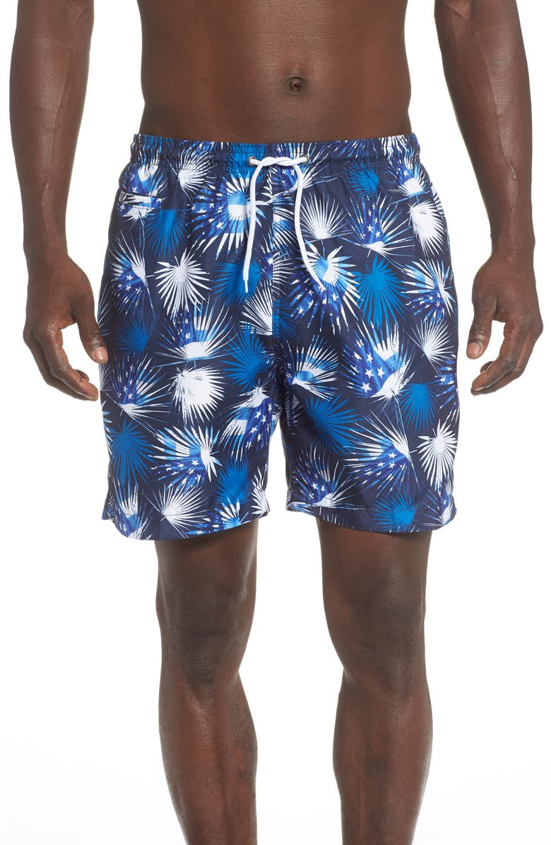 TRUNKS SURF & SWIM CO. Sano Palm Frond Swim Trunks, Main, color, VICTORY BLUE