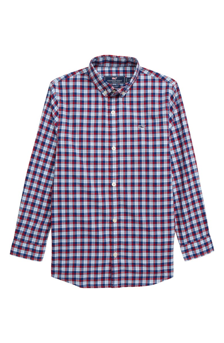 VINEYARD VINES Check Whale Shirt, Main, color, LIGHTHOUSE RED