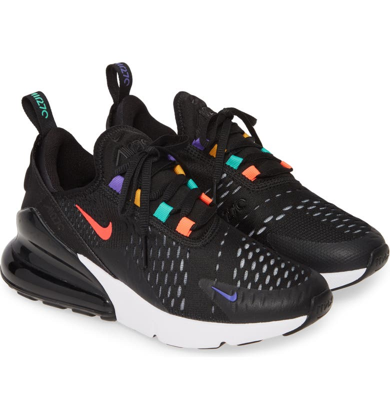 NIKE Air Max 270 Game GS Sneaker, Main, color, BLACK/ FLASH CRIMSON-GOLD