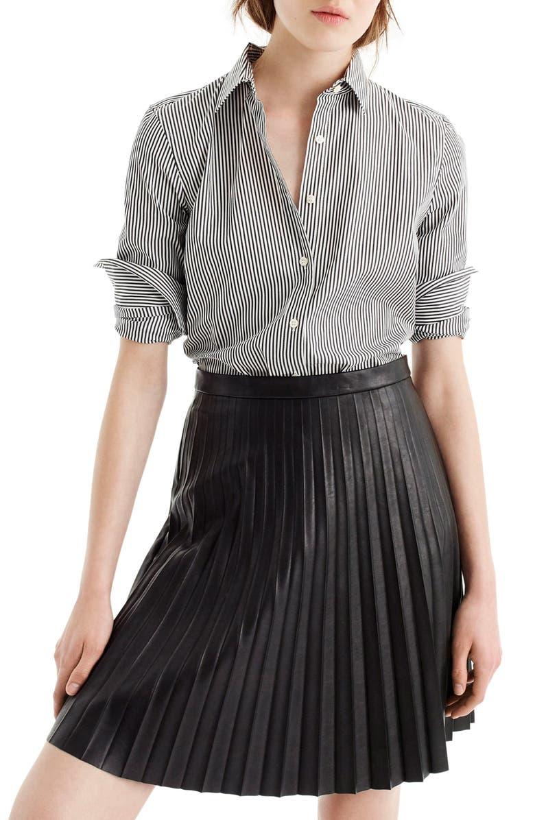 J.CREW Perfect Classic Stripe Stretch Cotton Shirt, Main, color, 001