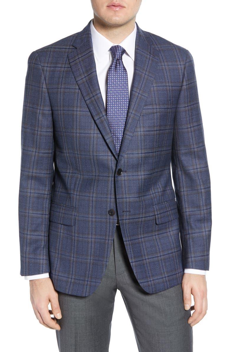 HART SCHAFFNER MARX Classic Fit Plaid Wool Sport Coat, Main, color, MEDIUM BLUE
