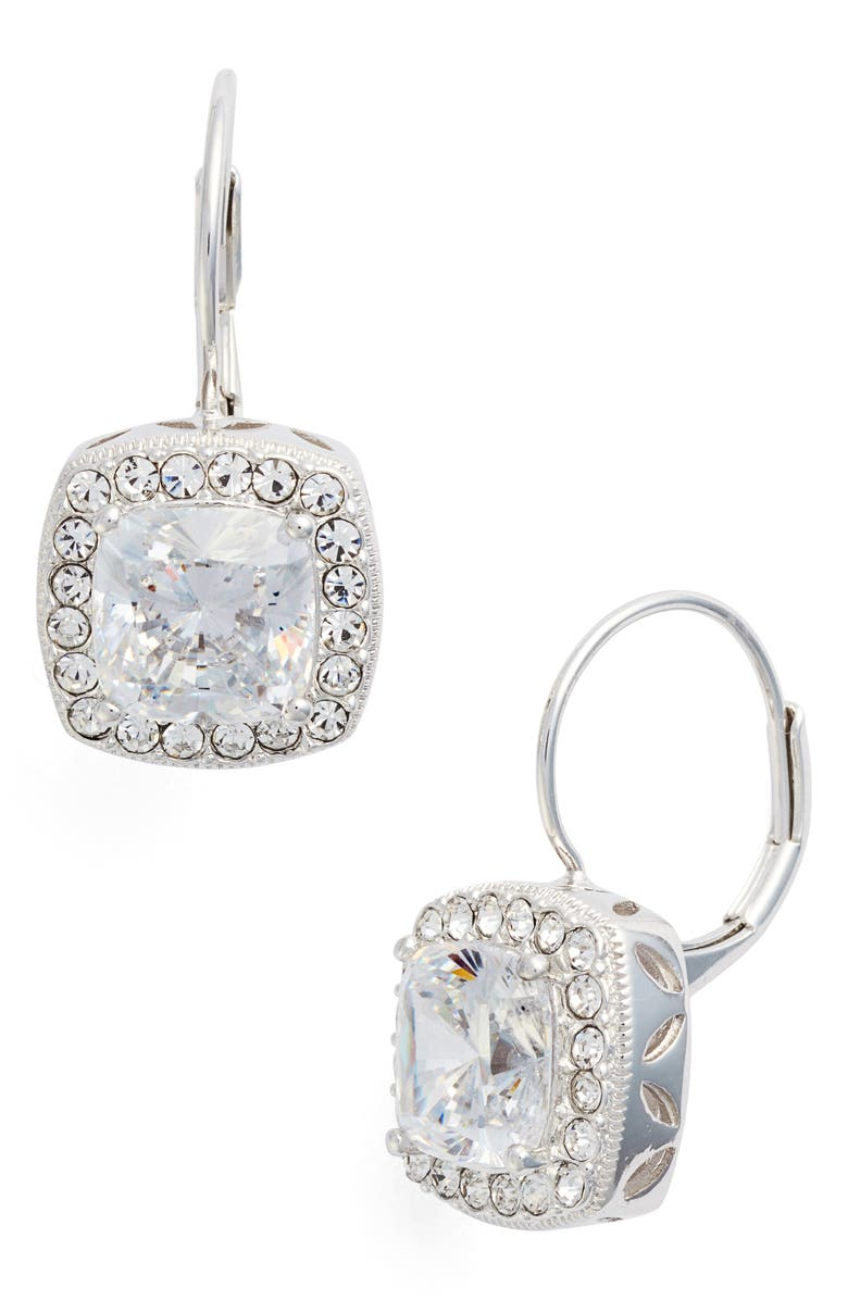 NADRI Cubic Zirconia Drop Earrings, Main, color, Silver