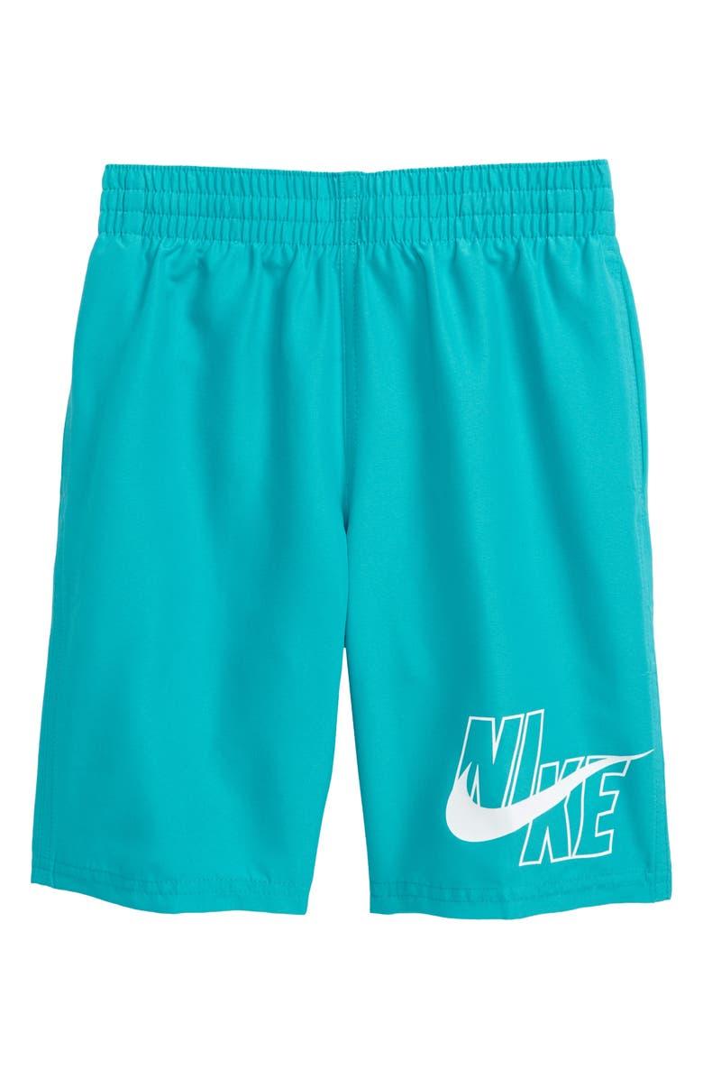 NIKE Logo Volley Shorts, Main, color, ORACLE AQUA