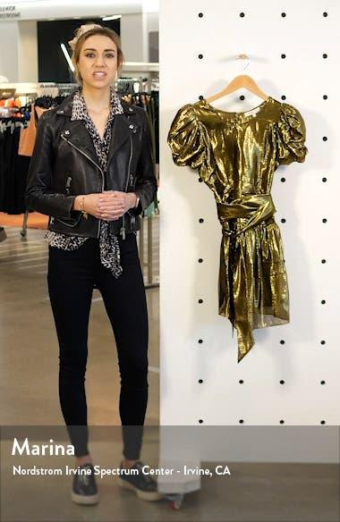 Mercy Metallic Silk Puff Sleeve Minidress, sales video thumbnail
