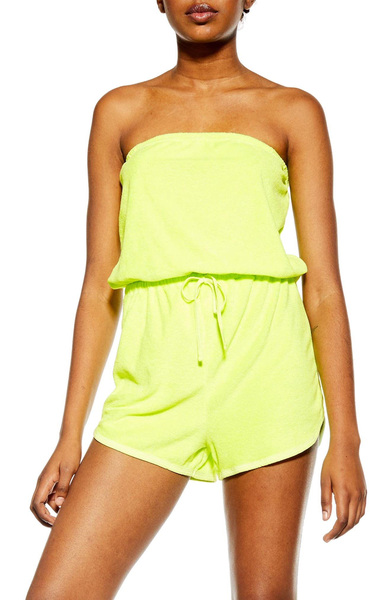 Topshop Strapless Velour Cover-Up Romper, Yellow