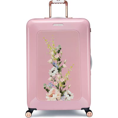 Ted Baker London Large Elegant Print 31-Inch Hard Shell Spinner Suitcase - Pink