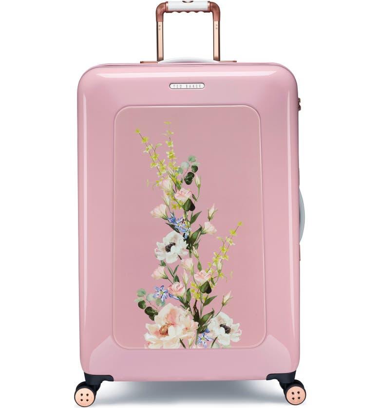 TED BAKER LONDON Large Elegant Print 32-Inch Hard Shell Spinner Suitcase, Main, color, PINK