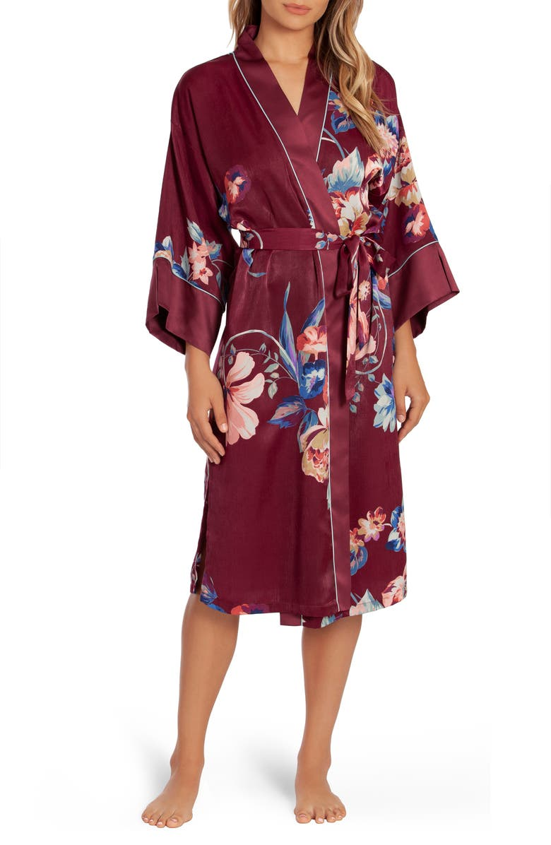 IN BLOOM BY JONQUIL Lenox Floral Satin Robe, Main, color, BURGUNDY