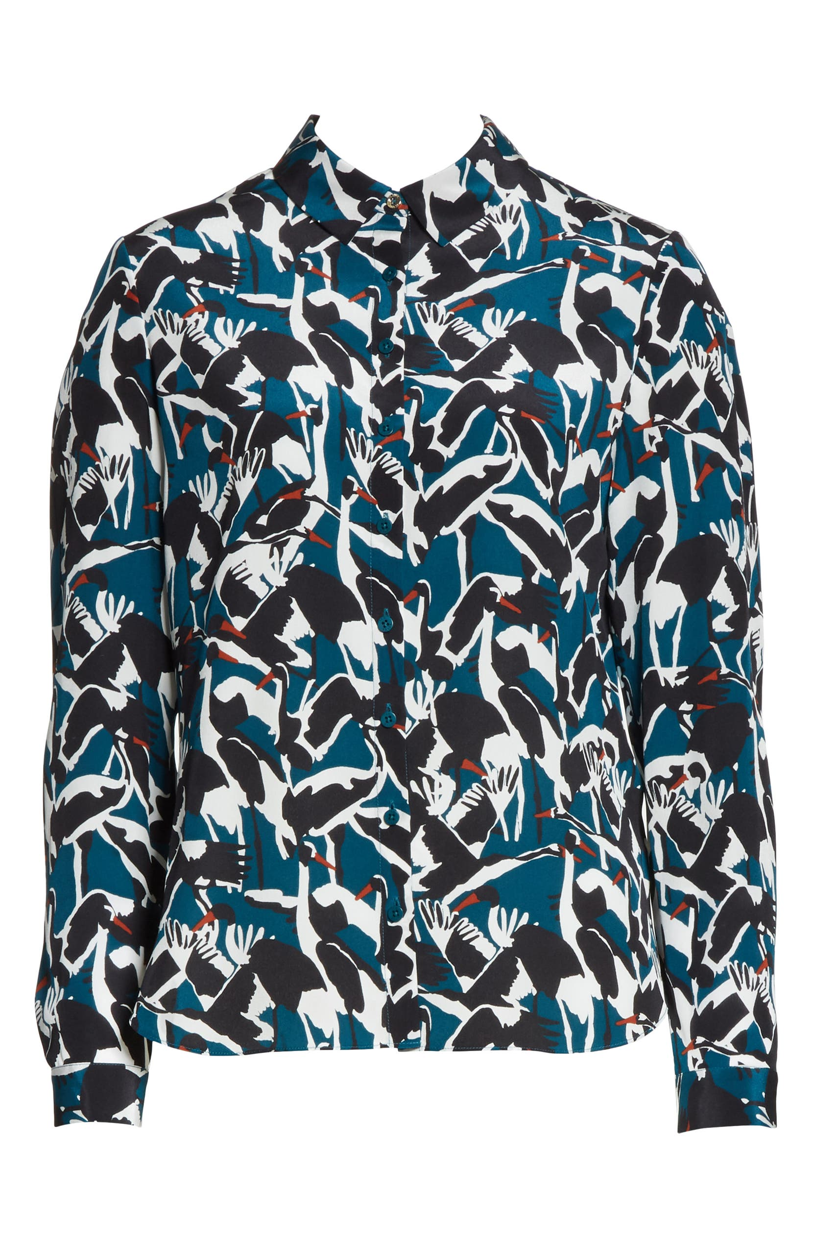 cb909acb7422 Ted Baker London Colour by Numbers Crane Print Silk Shirt | Nordstrom