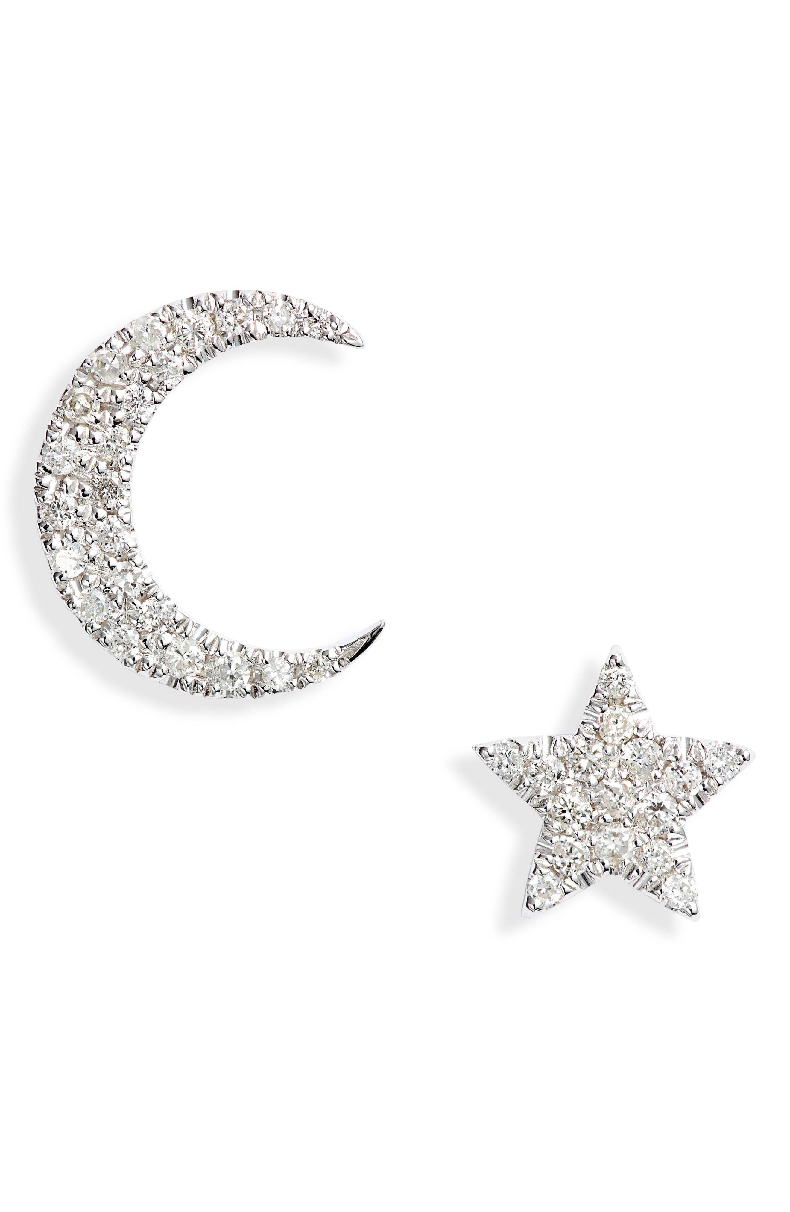 Mismatched Diamond Stud Earrings