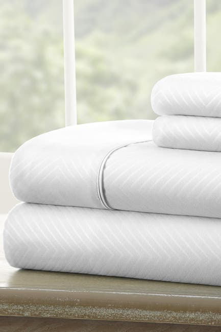 Image of IENJOY HOME Full Hotel Collection Premium Ultra Soft 4-Piece Chevron Bed Sheet Set - White