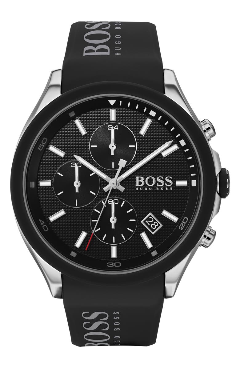 BOSS Velocity Chronograph Rubber Strap Watch, 45mm, Main, color, BLACK/ SILVER