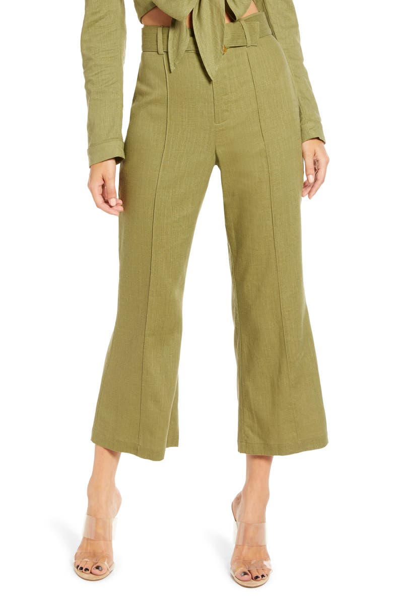 ENGLISH FACTORY Semi Flare Pants, Main, color, GREEN